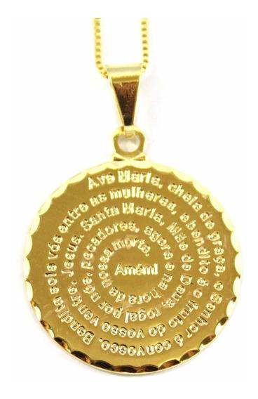 Colar Medalha Ave Maria Banhado A Ouro 18k