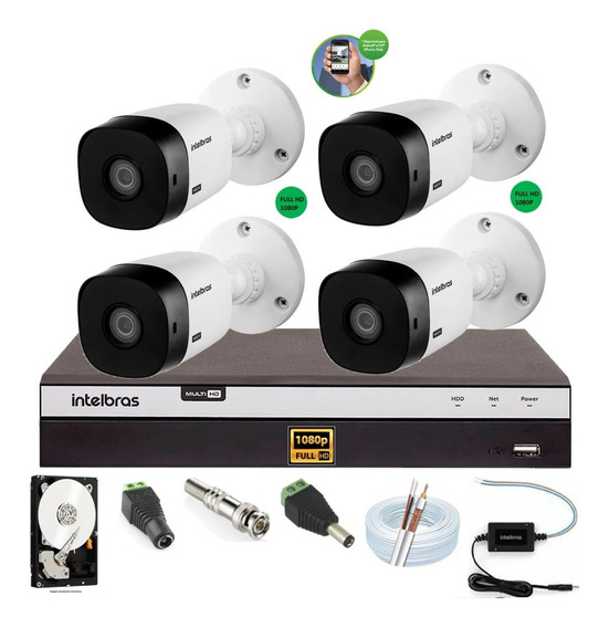 Kit Intelbras 4 Cam Fullhd 1220b 1080p Dvr Mhdx 3104 500gb