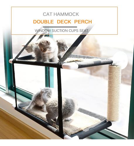 Imagen 1 de 6 de Gato Window Perca Hamaca Cama Doble Pisos Ventana Succión
