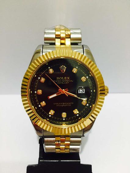 Relógio Date Just Misto Gold Black + 2 Baterias De Brinde!!!