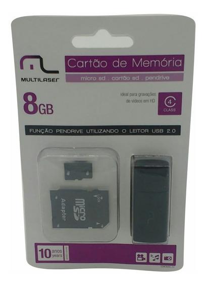 Cartão De Memória Micro Sd 8gb C/adap Classe 4 Multilaser