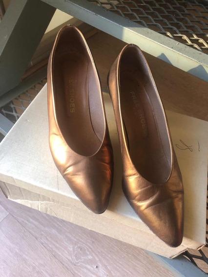 Zapatos De Cuero Color Cobre 36