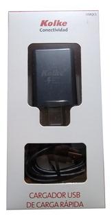 Cargador Rapido Usb Kolke 3a Incluye Cable Celular Tablet