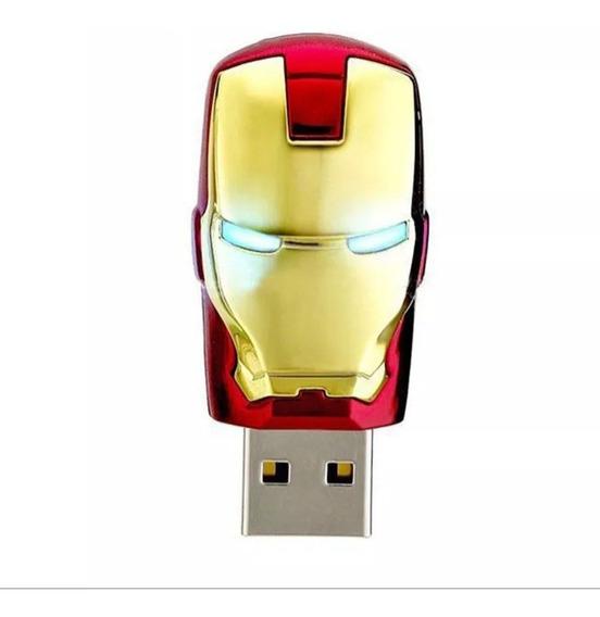 Pen Drive 16gb - Iron Man - Homem De Ferro - Com Luz Led