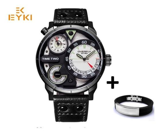 Relógio Esportivo Two Time Top Orig Luxuoso Marca Eyki 3bar