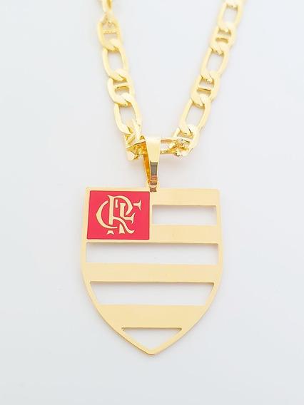 Corrente Cordão Pingente Flamengo 60 Cm Banhado Ouro C15p716