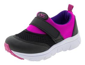 Tênis Infantil Feminino Pink/preto Via Vip - Vv1054