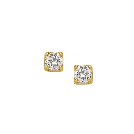 Brinco Em Ouro 18k (750) Com Diamante 0,16cts . Peso Do Par: