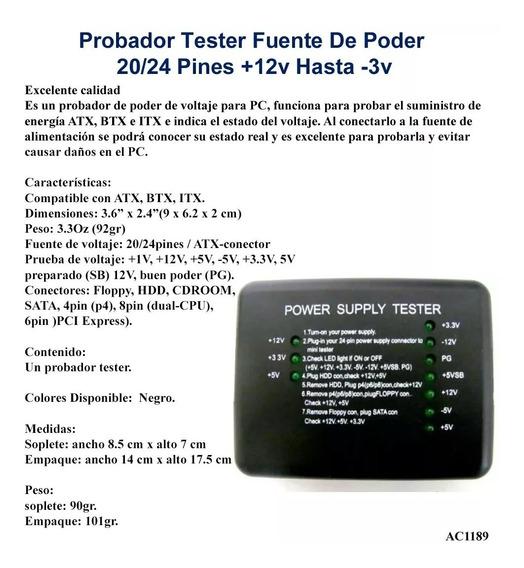Tester Probador Fuente De Poder 20/24 Pines Original
