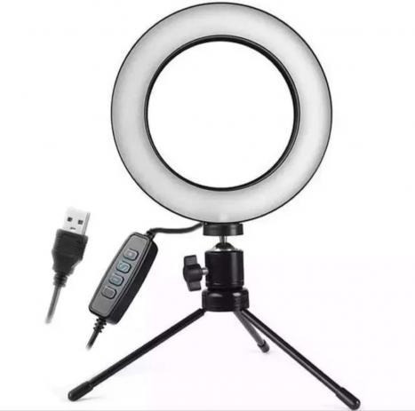 Iluminador Ring Light 16cm Usb Led Misto 3500k 5500k + Trip