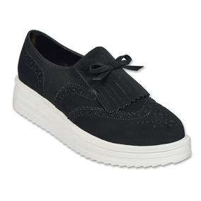 Calzado Dama Mujer Zapato Clasben Tipo Gamuza Negro Comodo
