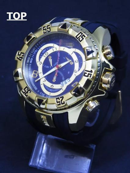 Relógio Dourado Azul Grande Pesado Reserv Na Caixa Top C160