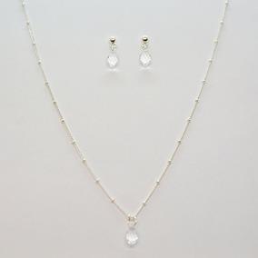 Collar + Aretes Gota De Cristal Con Acabado Baño Plata