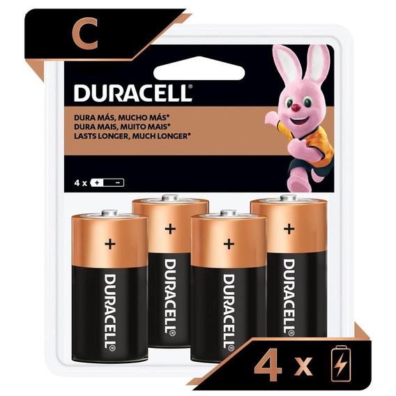 Pilha Duracell Alcalina Média C/ 4 Unidades