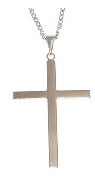 Colar Corrente Cruz Crucifixo Fino 100% Aço Inox 60cm