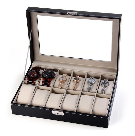 Caja Exhibidora Estuche Para 12 Relojes O Joyas, Cristal