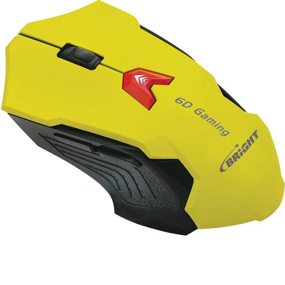 Mouse Gamer Amarelo 2400dpi Com Fio Luz Led (12333)