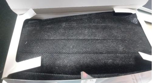 Imagen 1 de 2 de Cubre Bocas 3 Capas Plisado Negro  Euromask Con 50 Piezas.