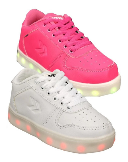 Zapatillas Atomik Luces Led Blanca + Usb Mmk Ledb
