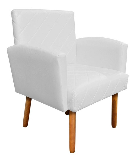 Poltrona Decorativa Veronês Para Sala Recepção Corino Branco