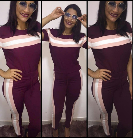 Conjunto Malha Crepe Feminino Calça E Blusa Top Moda 2019