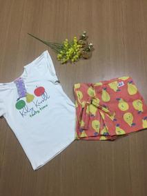 Roupa Menina Infantil Conjunto Camisa + Short Saia 10 Anos!