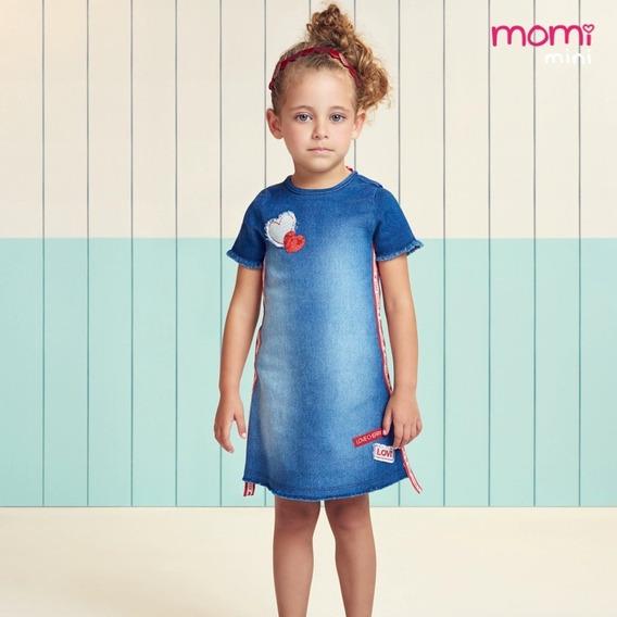Momi Vestido Infantil Jeans Com Patches 1 Ao 6 Verão 2020