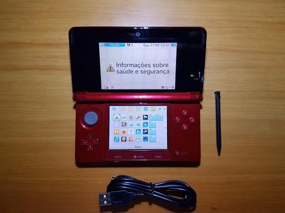 3ds Vermelho Desbloqueado + Cartão 32gb N13