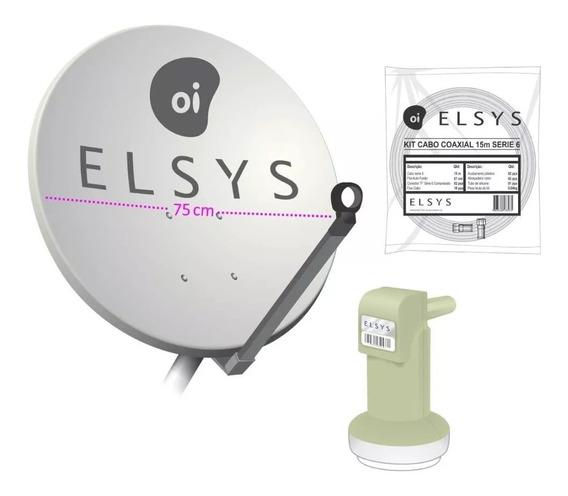 Kit Oi Livre Hd Original Elsys - 1 Receptor - Lnb Mono - Cab