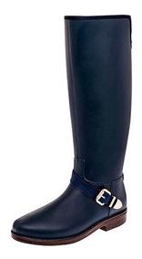 Bota Larga Cafe Con Azul,impermeable,zapatos Para Lluvia