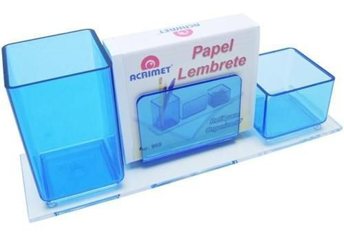 Imagem 1 de 1 de Porta Lapis/clips/lembrete Azul Clear C/papel 947 2  Acrimet