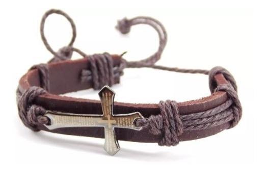 Bracelete Couro Pulseira Masculina Com Pingente Cruz