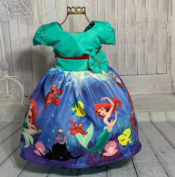Vestido Temático Infantil Ariel Pequena Sereia 1/6 Anos