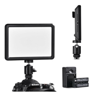 Lampara Led Para Video Slim Canon Nikon Sony + Bateria Y Cargador
