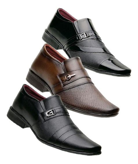 Kit 3 Sapatos Social Masculino * Frete Gratis *