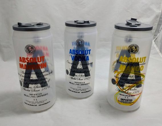 49 Vasos Tipo Lata Absolut Plástico Tapa Bebidas Fiesta Bar