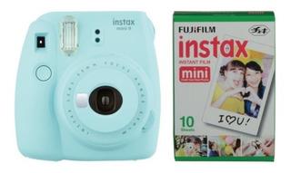 Camara Instax Mini 9 Azul Hielo Con Pelicula Para 10 Fotos