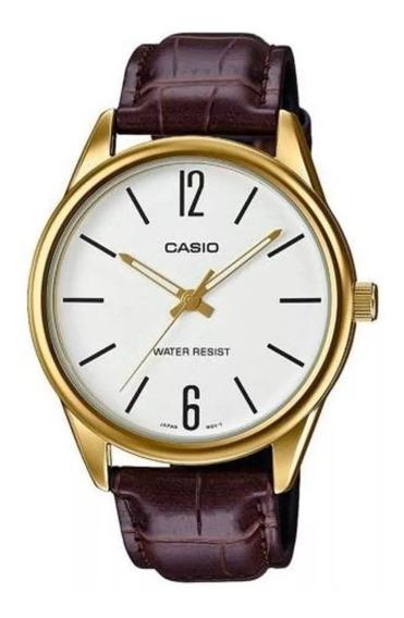 Relógio Masculino Casio Couro Marrom Mtp-v005gl-7budf