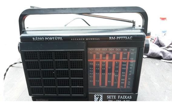 Rádio Portátil Usado Motobras Modelo Rm_pft 73ac 7 Faixas Fu