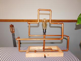 Lámpara Rústica Madera+trayectoria Cobre+bulbo Edison Edison