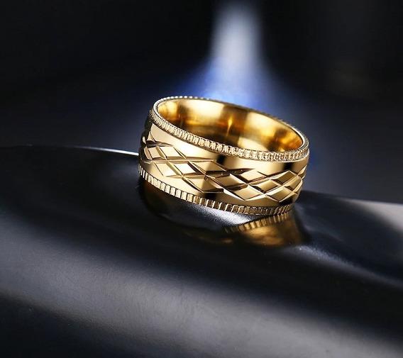 Anel Folheado A Ouro 18k Masculino Aço Dedeira Cravejado