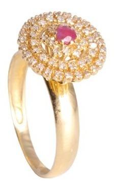 Anel Chines 57 Brilh. Pedra Natural De 3mm Em Ouro 18k/750