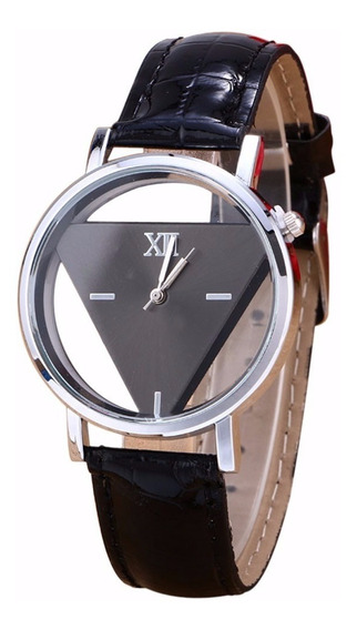 Relógio Casual Com Pulseira De Couro Preto Splendid