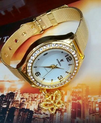 Relógio Feminino Dourado Luxo Resistente E Barato Dourado