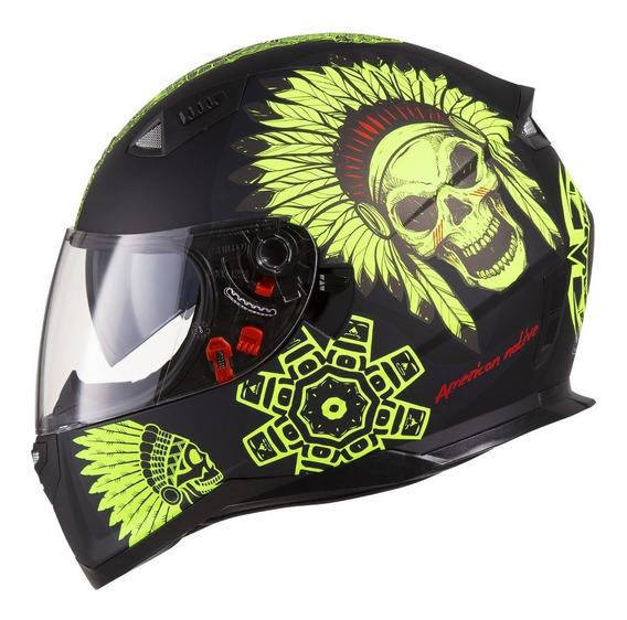 Capacete Moto Shiro Sh 881 Sv American Native Óculos Solar