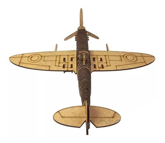 Avião Spitfire Miniatura Brinquedo Mdf Aviãozinho 0419