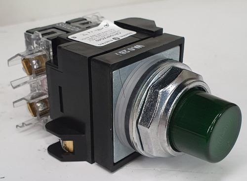 Botón Ge Iluminado Pulsador Color Verde Cr104pbl11g1s2