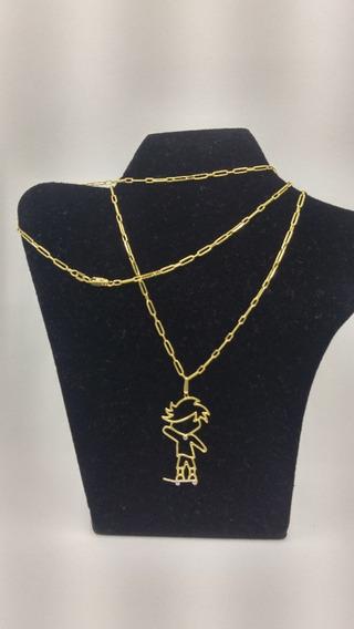 Cordão Corrente Retangular + Pingente Menino Skat, Ouro 18 K