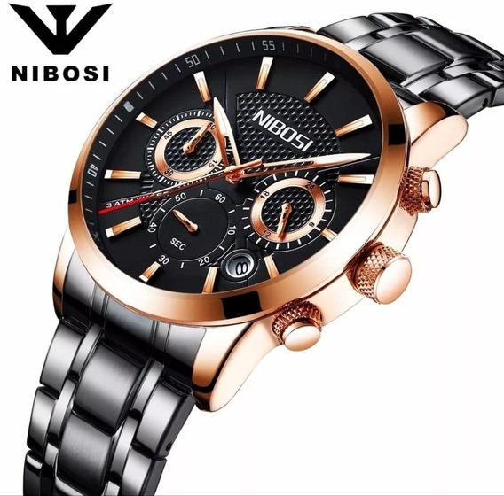 Relógio Masculino Nibosi 2313 Original 30 Metros Dourado