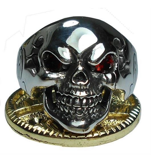 Anel De Prata De Lei 950 Caveira Cranio Trabalhada Frete Gr
